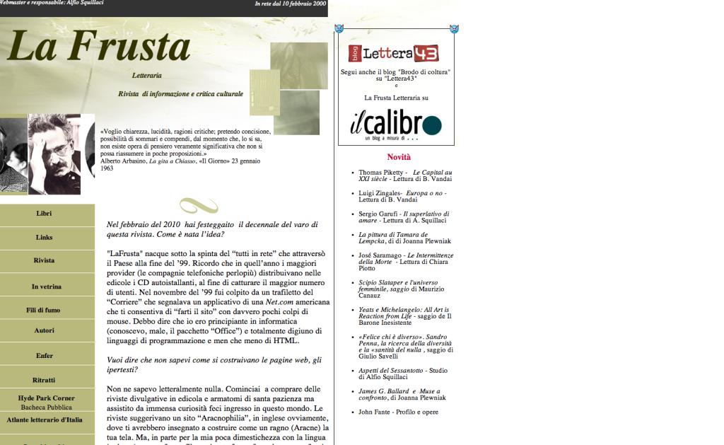 La frusta, il sito di critica letteraria di cui Alfio Squillaci è amministratore